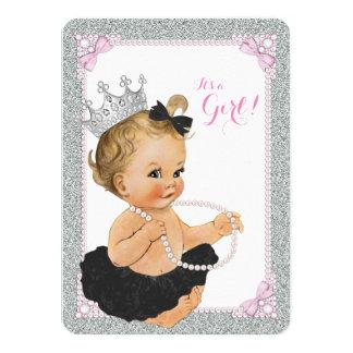 Elegant Princess Black Tutu Pearl Baby Shower Card