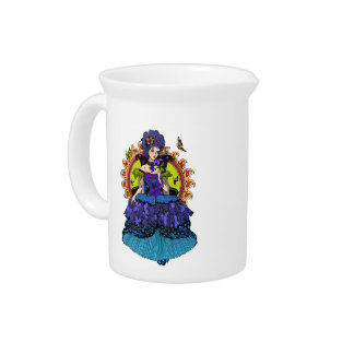 Elegant princess illustration with butterfly drink pitcher