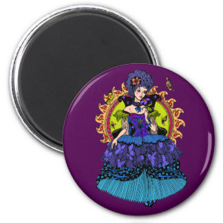 Elegant princess illustration with butterfly magnet
