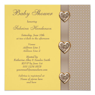 Elegant Printed Bow & Heart Jewels Baby Shower Card