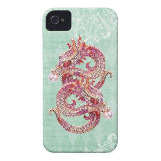 Elegant Printed Jewel Dragons Vintage Shabby Chic iPhone 4 Cover