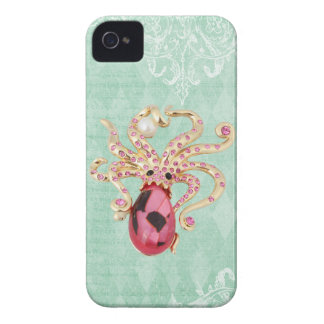 Elegant Printed Jewel Octopus Vintage Shabby Chic iPhone 4 Covers