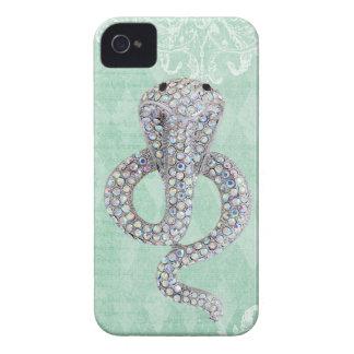 Elegant Printed Jewel Snake Vintage Shabby Chic Case-Mate iPhone 4 Cases