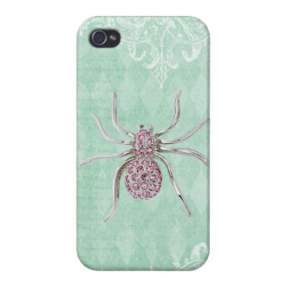 Elegant Printed Jewel Spider Vintage Shabby Chic Covers For iPhone 4