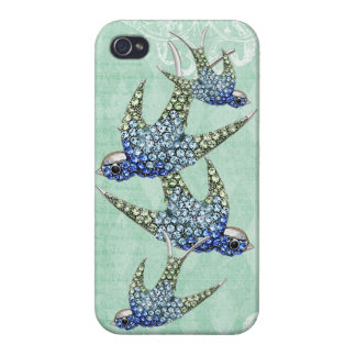 Elegant Printed Jewel Swallows Vintage Shabby Chic iPhone 4/4S Covers