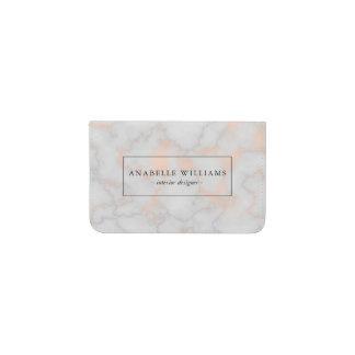 Elegant Printed Rose Gold Marble Texture Business Card Holder