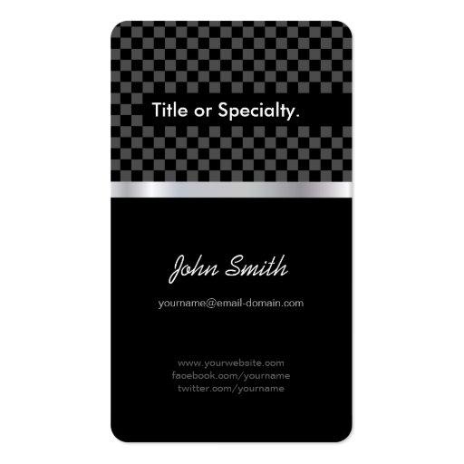 Elegant & Pro Black Silver Squares Checkered Business Card Templates