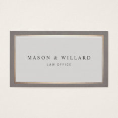 Elegant Professional Attorney Gold Border Business Card at Zazzle