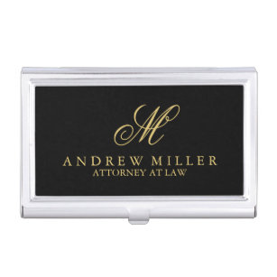 Monogram business card holders cases zazzle elegant professional black and gold monogram business card case colourmoves