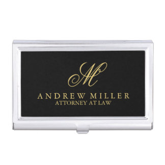 Elegant Professional Black and Gold Monogram Business Card Case