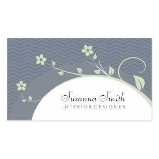 Elegant professional card with flowers and chevrón business card templates
