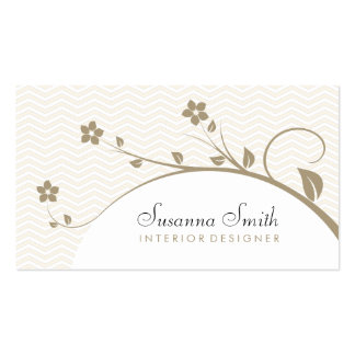Elegant professional card with flowers and chevrón business cards
