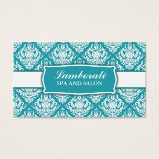 Elegant Professional Damask Floral Pattern Salon Business Card