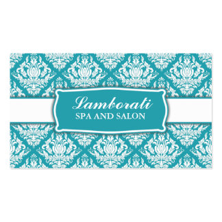 Elegant Professional Damask Floral Pattern Salon Double-Sided Standard Business Cards (Pack Of 100)