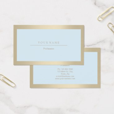 Professional Business Elegant Professional Frame Ivory Gold Blue Metalli Business Card