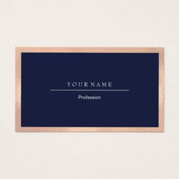 Professional Business Elegant Professional Frame Metal Blue Navy Peach Business Card