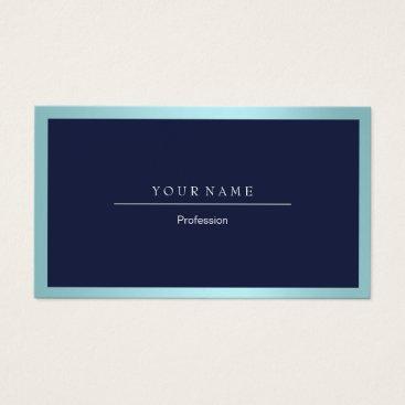 Professional Business Elegant Professional Frame Metallic Aqua Navy Blue Business Card