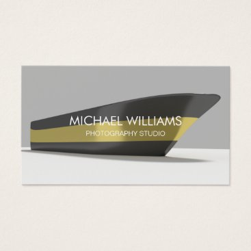 Beach Themed Elegant Professional Gold Black Boat Publicity Business Card