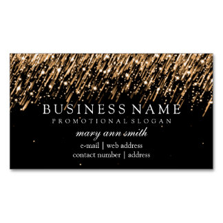 Elegant Professional Gold Falling Stars Magnetic Business Card