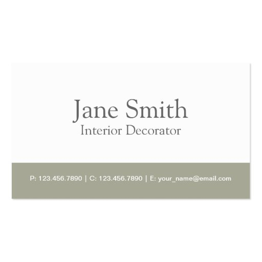 Elegant Professional Interior Design Decorator Double-sided Standard Business Cards (pack Of 100)