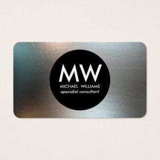 Elegant professional metal black circle silver business card