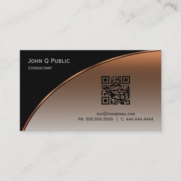 Elegant Professional Modern Black Bronze QR Business Card