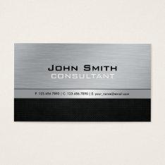 Elegant Professional Modern Black Silver Metal Business Card at Zazzle
