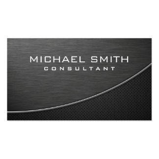 Elegant Professional Modern Plain Metal Black Double-Sided Standard Business Cards (Pack Of 100)