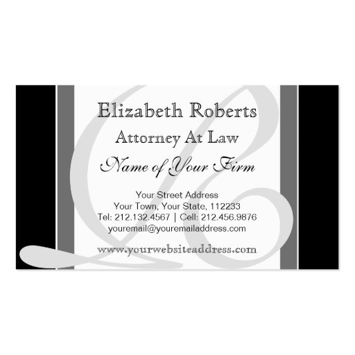 Elegant Professional Monogram R Black and Gray Business Card Templates