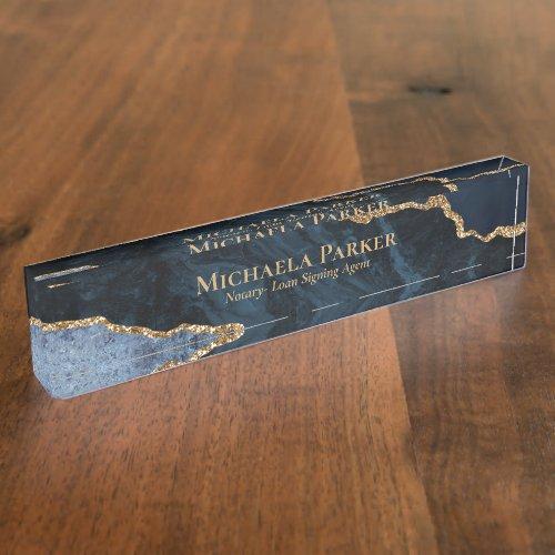 Elegant Professional Navy Blue Gold Agate Geode Desk Name Plate