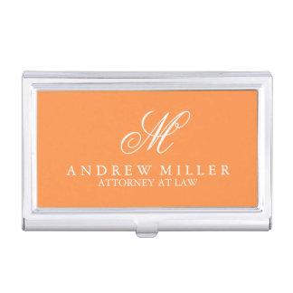 Elegant Professional Orange Monogram Case For Business Cards
