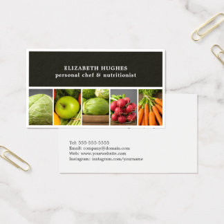 Elegant Professional Photos Vegetables Chef Business Card