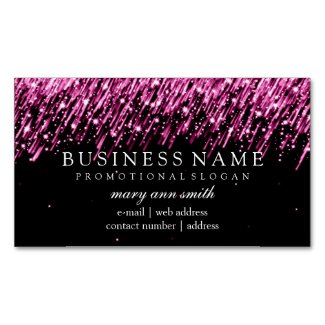 Elegant Professional Pink Falling Stars Magnetic Business Card