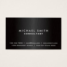 Elegant Professional Plain Black Modern Metal Business Card at Zazzle