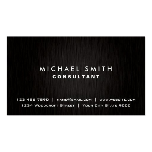 Elegant Professional Plain Black Modern Metal Business Card Templates