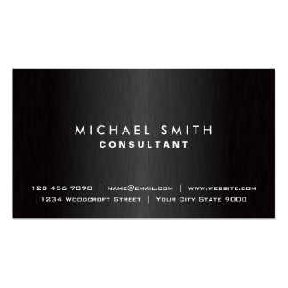 Elegant Professional Plain Black Modern Metal Double-Sided Standard Business Cards (Pack Of 100)