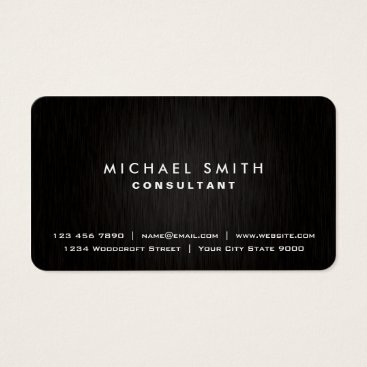 Lamborati Elegant Professional Plain Black Modern Metal Look Business Card