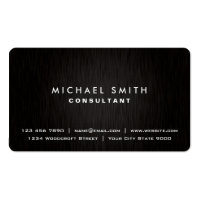 Elegant Professional Plain Black Modern Metal Look Double-Sided Standard Business Cards (Pack Of 100)