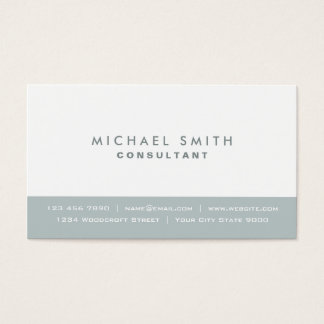 Elegant Professional Plain Modern Gray and White Business Card
