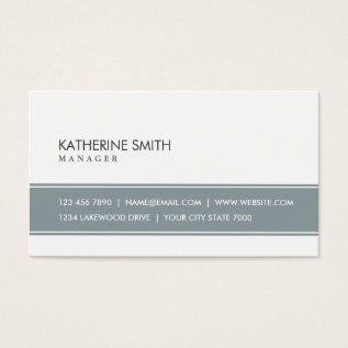 Elegant Professional Plain Simple Gray and White Business Card at Zazzle