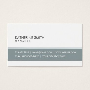 BusinessCardsProShop Elegant Professional Plain Simple Gray and White Business Card