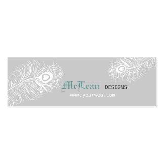 Elegant Professional Pretty Peacock Feather Mini Business Card
