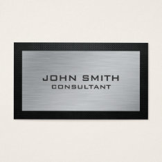 Elegant Professional Silver Metal Black Groupon Business Card at Zazzle
