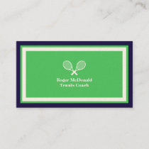 Elegant professional tennis green framed business card