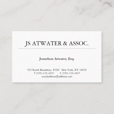 Elegant Professional White Lawyer Business Card