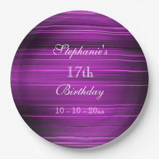 Elegant Psychedelic Purple 17th Birthday 9 Inch Paper Plate