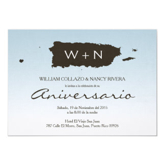 Elegant Puerto Rico Map Theme 5x7 Paper Invitation Card