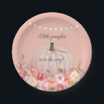 "Elegant Pumpkin Baby Girl Shower Paper Plate<br><div class=""desc"">Shower the guests at the baby shower with these elegant,  floral little pumpkin is on the way designs.  Blush pink pumpkin with pink,  coral and yellow flowers underneath,   pink ribbon,  and string lights above on a blush pink background.</div>"