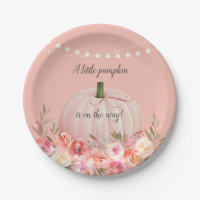 Elegant Pumpkin Baby Girl Shower Paper Plate