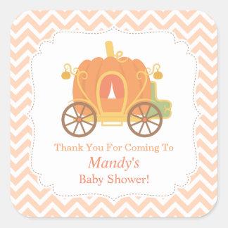 Elegant Pumpkin Carriage Baby Shower Decor Square Sticker
